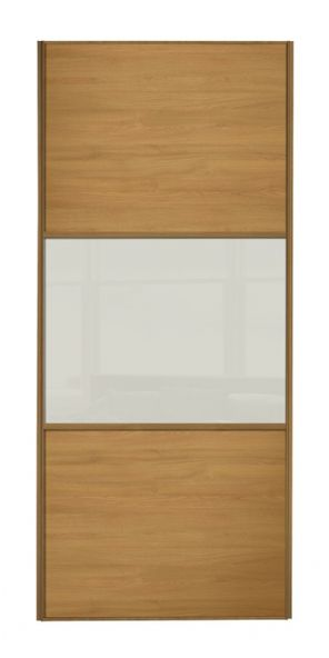 Wideline sliding wardrobe door, Oak frame, Oak-Soft white-Oak